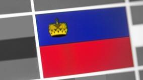 De nationale vlag van Liechtenstein van land De vlag van Liechtenstein op de vertoning, een digitaal moiréeffect royalty-vrije stock fotografie