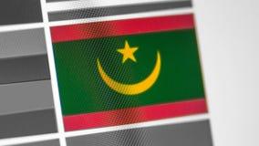 De nationale vlag van Mauretanië van land De vlag van Mauretanië op de vertoning, een digitaal moiréeffect stock foto