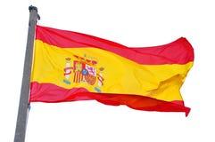 De Nationale Vlag van Spanje die op Witte Achtergrond wordt geïsoleerdo Stock Afbeeldingen