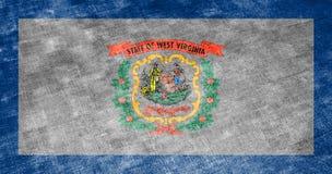 De nationale vlag van de V.S. verklaart binnen West-Virginia tegen een grijs textielvod op de dag van onafhankelijkheid in versch stock illustratie