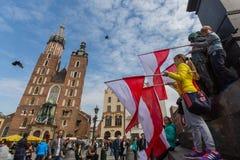 De nationale Vlagdag van de Republiek Polen (door het Akte van 20 Februari 2004) vierde tussen de vakantie Royalty-vrije Stock Foto