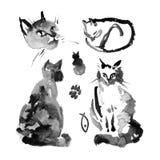 De natte aan natte illustratie van de waterverfinkt van de pluizige Siberische kat op witte achtergrond Inzameling van leuke kat  Royalty-vrije Stock Afbeeldingen