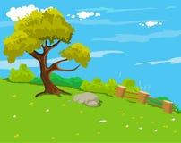 De natuurlijke achtergrond van het landschapsbeeldverhaal Stock Fotografie
