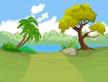 De natuurlijke achtergrond van het landschapsbeeldverhaal stock illustratie