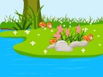 De natuurlijke achtergrond van het landschapsbeeldverhaal vector illustratie