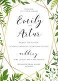 De natuurlijke botanische huwelijksuitnodiging, nodigt, sparen de datumtemperaturen uit stock illustratie