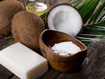 De natuurlijke olie van de kokosnotenokkernoot Stock Fotografie