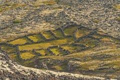 De natuurlijke Pennen van Rotsschapen in landelijke Bergen stock afbeelding