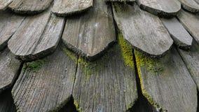 De natuurlijke tegels van het stijl zwarte houten dak met groen mos Stock Afbeelding