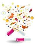 De natuurlijke vitaminen zijn in een pil Vector Illustratie