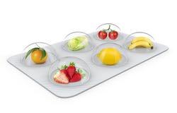 De natuurlijke vitaminepillen kijken als vruchten Royalty-vrije Stock Afbeelding