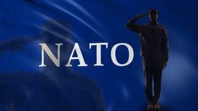 De NAVO militairsilhouet het groeten, intergouvernementele militaire alliantie, defensie stock videobeelden