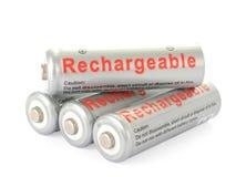 De navulbare batterijen van aa Stock Foto's