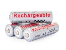 De navulbare batterijen van aa Stock Afbeeldingen