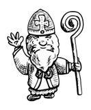 De Nederlandse illustratie van Sint Nicolaas - zwart-witte inkttekening vector illustratie