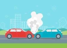 De Neerstorting of het Ongeval van de beeldverhaalauto Vector vector illustratie