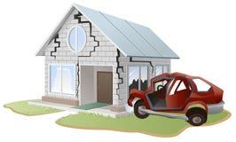 De neerstorting van de auto Auto die in muur thuis wordt verpletterd Bezit insurance Royalty-vrije Stock Afbeeldingen