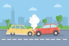 De neerstorting van de auto op de weg royalty-vrije illustratie