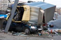 De Neerstorting van het Ongeval van de auto Stock Afbeelding
