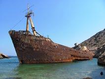 De neerstorting van het schip in Griekenland Stock Foto