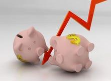 De neerstorting van het spaarvarken Royalty-vrije Stock Afbeeldingen
