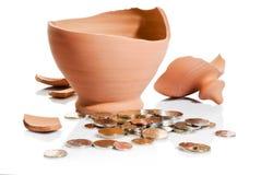 De neerstorting van Moneybox Stock Fotografie