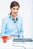 De negocios de la mujer del tiempo concepto hacia fuera, taza de café roja Rompa el trabajo Fotos de archivo libres de regalías
