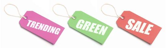 De neigende, Groene en Markeringen van de Verkoop Royalty-vrije Stock Afbeeldingen