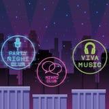 De neonlichten van de discopartij vector illustratie