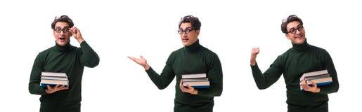 De nerd jonge die student met boeken op wit wordt geïsoleerd stock afbeeldingen