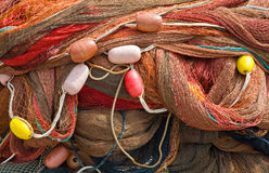 De netten die van de visserij in porto antico, Genua drogen Royalty-vrije Stock Foto