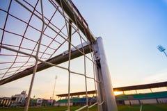 De netten van het voetbaldoel stock foto