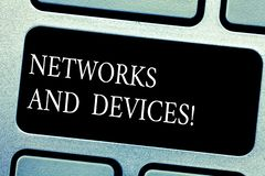 De Netwerken en de Apparaten van de handschrifttekst Conceptenbetekenis die wordt gebruikt om computers of ander elektronisch app royalty-vrije stock foto