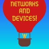 De Netwerken en de Apparaten van de handschrifttekst Conceptenbetekenis wordt gebruikt om computers of ander elektronisch de anal royalty-vrije illustratie