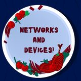 De Netwerken en de Apparaten van de handschrifttekst Conceptenbetekenis wordt gebruikt om computers of andere elektronische Getro royalty-vrije illustratie