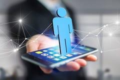 De netwerkverbinding met mensen verbond elkaar - het 3D teruggeven Stock Afbeelding