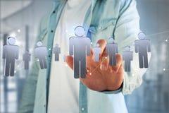 De netwerkverbinding met mensen verbond elkaar - het 3D teruggeven Stock Fotografie