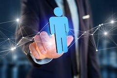 De netwerkverbinding met mensen verbond elkaar - het 3D teruggeven Royalty-vrije Stock Afbeelding