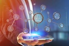 De netwerkverbinding met mensen verbond elkaar in technologie w Stock Foto