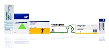 De neusnevel van Rhinocortaqua, Zithromax-poeder voor mondelinge opschorting, Voltfast 50 mg, Avamigran, Stugeron, de zalf van he stock fotografie