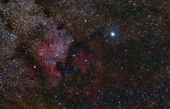 De Nevel van Noord-Amerika Cygnusconstellatie deneb Telescoopastrophotography vector illustratie