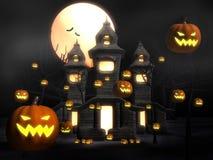 De nevelige nacht van Halloween bij kasteel stock illustratie