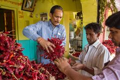 De niet geïdentificeerde mens verkoopt hete Spaanse peperspeper Stock Foto