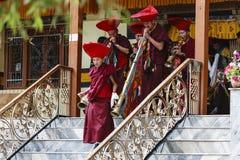 De niet geïdentificeerde tibetan boeddhistische monniken spelen muziek voor het openen van ceremonie van het Hemis-Festival stock afbeeldingen