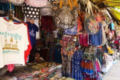 De niet geïdentificeerde verkoper op markt in Siem oogst Stock Afbeelding