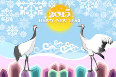 De nieuwe achtergrond van de jaarkaart met vogels - eps10-illustratie Royalty-vrije Stock Foto