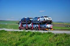 De nieuwe auto'suitvoer Stock Foto's