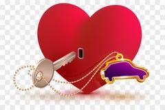 De nieuwe auto is zeer belangrijk aan hart van uw geliefd De het rode slot en sleutel van de hartvorm vector illustratie
