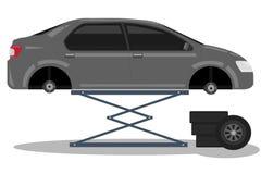 De nieuwe autobanden van de bandvervanging stock illustratie