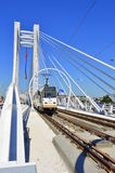 De nieuwe basarabhangbrug in Boekarest royalty-vrije stock afbeelding
